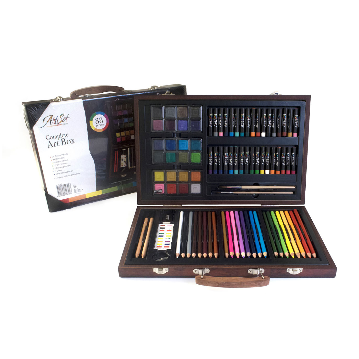 Art Box 88 Piece Art & Craft Supplies Set in Wood Box for Drawing and Painting