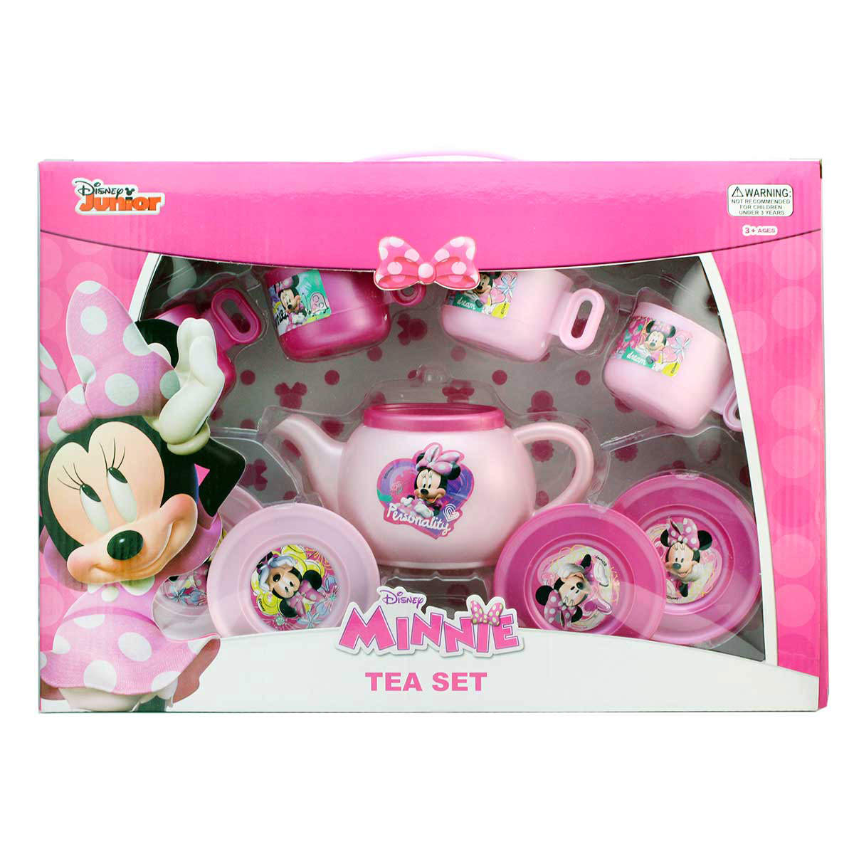 Disney Junior Minnie Mouse Tea Set 9 pcs Teapot Cup Plate Pretend Role Play Toy